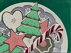 foil plate of decorated cookies